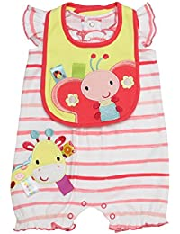 Baby Girl Love Bugs Giraffe Butterfly Shorts Romper and Bib (6m-9m)