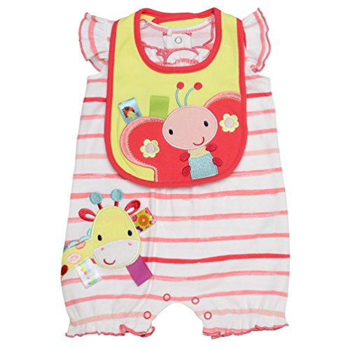 Taggies Baby Girl Love Bugs Giraffe Butterfly Shorts Romper and Bib (3m-12m) (6 months)