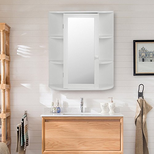 Classic White Wall Mount Bathroom Medicine Cabinet Vanity Mirror Storage Cabinet With Side Display Shelves