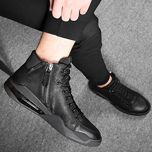 KHSKX-Martin Male Winter Snow Boots Shoes High Shoes Men'S Casual Shoes Leather Boots And Shoes Cotton Velvet Warm Tide Black o3coF