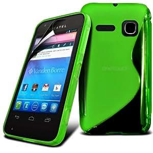 Fone-caso de la piel S-line Wave Gel Hydro Alcatel One Touch S'Pop protectora cubierta de bolsa Con Guardia de protección de pantalla LCD (Verde)