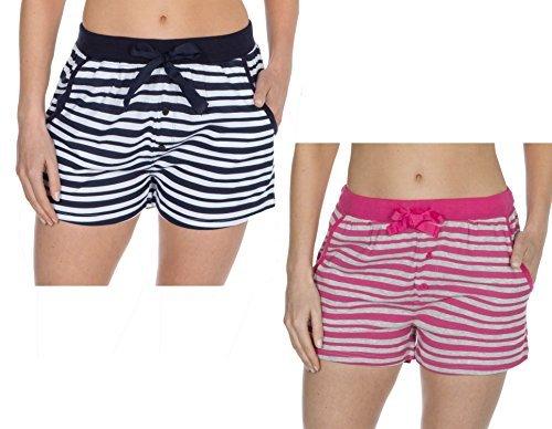 Insignia mujer pantalones de andar por casa Jersey Algodón Suave Pijama Pantalones cortos rayas - Rosa