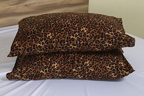Umesh Enterprises Leopard Print 600 Thread Count Ultra-Soft 100% Cotton Quality 2 Qty Pillow Cases, Silky Soft & Wrinkle Free (Solid/Stripe/Animal Print Colors Five Sizes)-Body Size