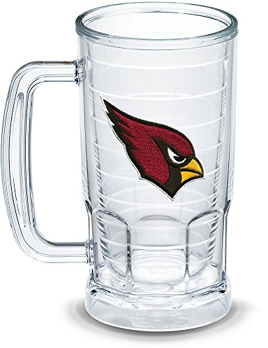 - Tervis 1303317 NFL Arizona Cardinals Primary Logo Insulated Tumbler with Emblem, 16oz Beer Mug, Clear
