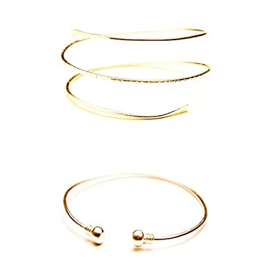 85caf1e9320 HUNO Minimalist Metal Punk Spiral Coil Upper Arm Cuff Open Arm Bracelet  Armlet Adjustable Hammered Wrap