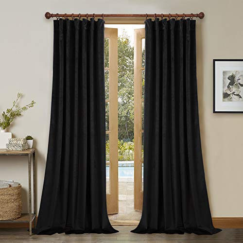 StangH Black Velvet Curtains Set of 2 Blackout Panels 120-inches Extra Long Thick Thermal Insulated Drapes Total Privacy Protect Panels for Film Room/Basement, 52