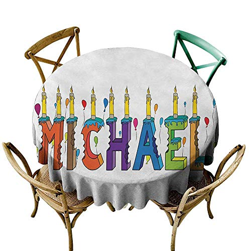 Elegant Waterproof Spillproof Polyester Fabric Table Cover Michael Festive Gathering Theme Colorful Birthday Cake Design Joyous Composition of Letters Picnic D51 Multicolor