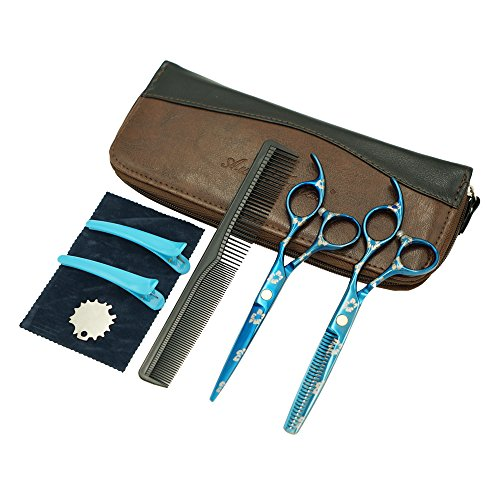 AuroTrends Professional Barber Razor Edge Hair Cutting Shears Set, Sakura Hairdressing Scissors and Hair Thinning Scissors/Shear Set+ Free Case/Hairclips/Comb/Cleaning Cloth (Sakura) by AuroTrends (Image #9)