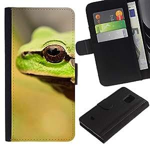Paccase / Billetera de Cuero Caso del tirón Titular de la tarjeta Carcasa Funda para - Frog Eye Cute Blurry Summer Sun Forest - Samsung Galaxy S5 Mini, SM-G800, NOT S5 REGULAR!