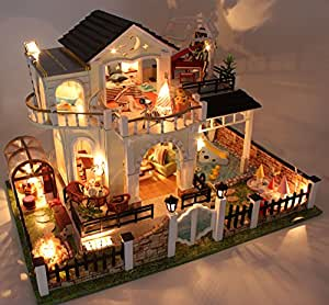 BEAUTY'S CASTLE DIY Miniature Garden Villa Wooden Dollhouses With LED Light Crafts Furniture Kit 3D Puzzle Toy And Wooden Frame For Creative Birthday Gift