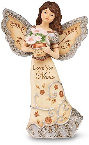 Elements Love You Nana Angel Figurine by Pavilion, 5-1/2-Inch, Holding Flowers, Inscription Love You Nana