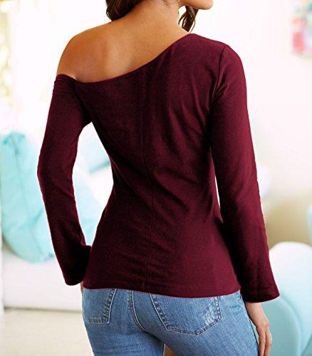 Tee Hiver Manches Femmes Oblique paule Slim Hauts Fashion Tops Automne Shirts Shirts Rouge et Chemisiers Jumper Longues Blouse T Vin Bw5q46