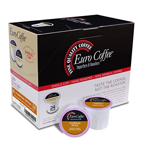 - Euro Coffee Natural Pumpkin Spice, 24 Count Single-Serve K-Cup Keurig Compatible. Award Winning Artisan Coffee Roaster
