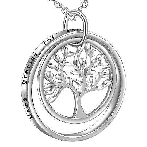 LOVORDS Collar Mujer Grabado Plata de Ley 925 Colgante Arbol de la Vida Familiar Circulo Regalo Madre Mama