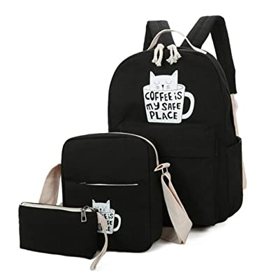 5b290eeade31 Women Backpack Cat Print Canvas School Bags Teenager Girls Preppy Laptop Book  Bag