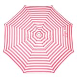 Heininger 1331 DestinationGear Italian Pink and White 6' Acrylic Striped Bar Height Pole Umbrella