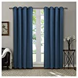 Singinglory Opaque Curtain Set of 2 Blackout Eyelets Curtains Linen Look with 2 Racquered Country House Window Decoration 140 x 245 cm blue
