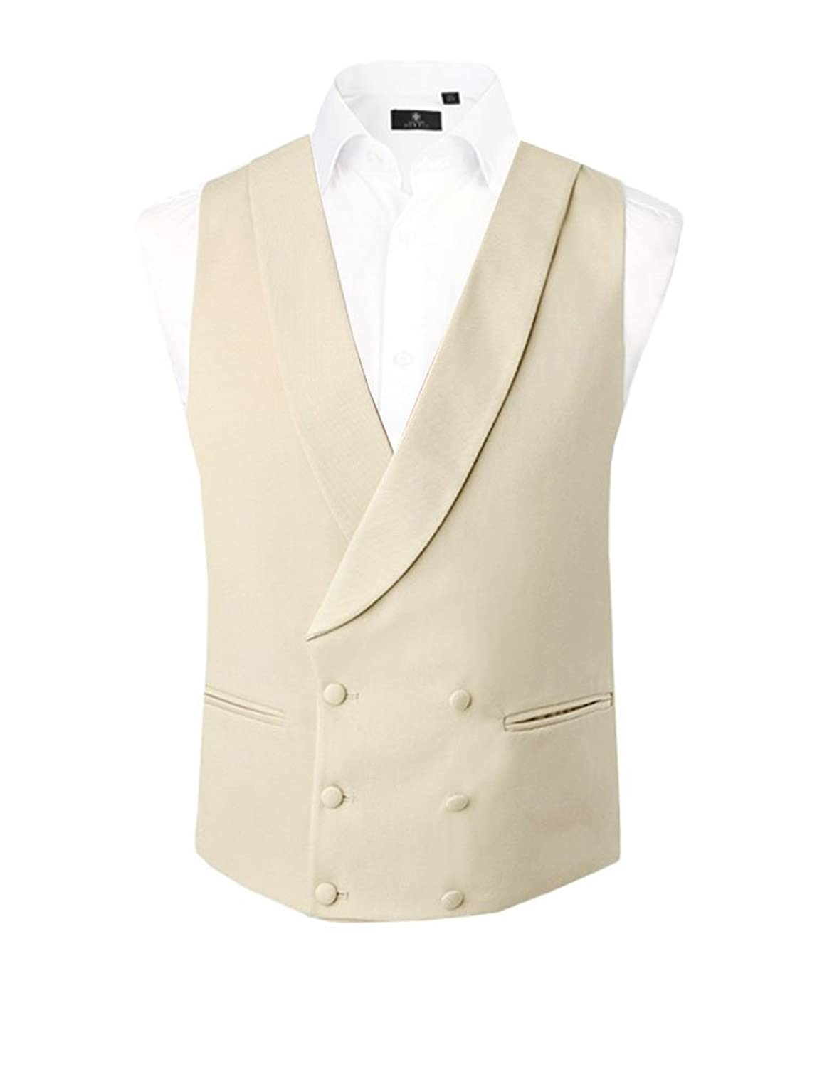 Victorian Men's Formal Wear, Wedding Tuxedo Mens Gold/Buff Double Breasted Shawl Lapel Morning Suit Waistcoat £39.99 AT vintagedancer.com
