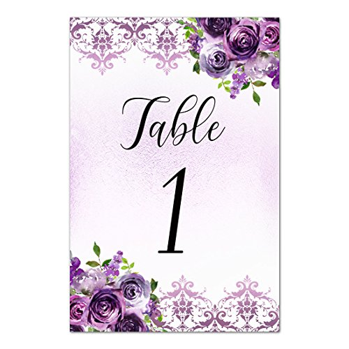 12 Table Cards Purple Damask Floral - Tables 1 to 12 - 5x7 inches (Baptism Invitation Damask)