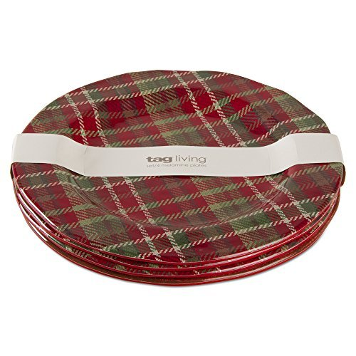 tag - Plaid Melamine Dinner Plate, Durable, BPA-Free and Great for Outdoor or Casual Meals, Red/Green/White (Set Of 4)