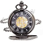 BOSHIYA Mens Vintage Skeleton Pocket Watch Steampunk Windup Half Hunter Mechanism Gear Cover with Chain 13