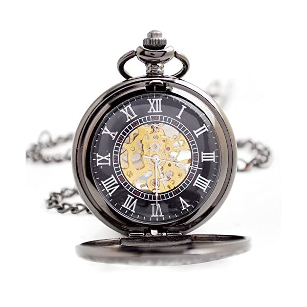 BOSHIYA Mens Vintage Skeleton Pocket Watch Steampunk Windup Half Hunter Mechanism Gear Cover with Chain 7