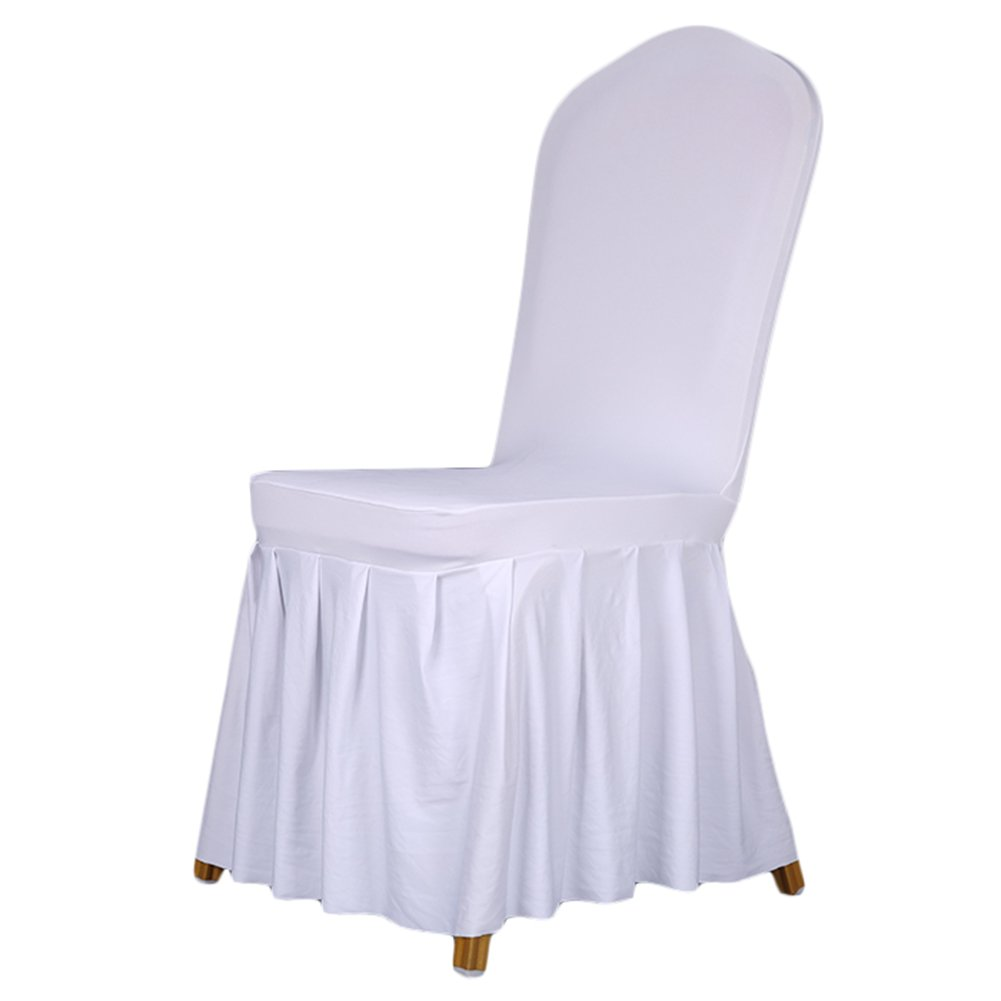 SoulFeel 1 x Long Stretch Spandex Dining Chair Cover Protectors, Super Fit Banquet Chair Seat Slipcovers for Hotel and Wedding Ceremony, Removable & Washable (White)