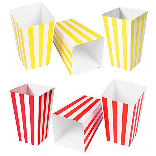 HansGo 24 Pcs Popcorn Boxes Striped Paper Movie Popcorn Favor Boxes Goody Bags Cardboard Candy Container, Yellow and Red