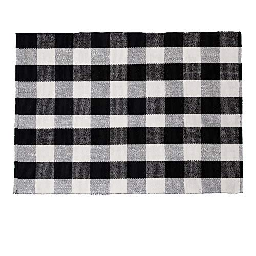 SHACOS Cotton Woven Rug Throw Rug Floor Rug Mat Carpet for Kitchen Bedroom Entryway Laundry Room (3'x5', Black ()