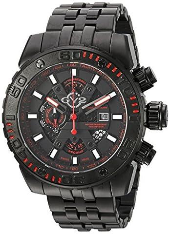 GV2 by Gevril Polpo Mens Chronograph Swiss Quartz Black Stainless Steel Bracelet Watch, (Model: (Gold Versus Watches For Men)
