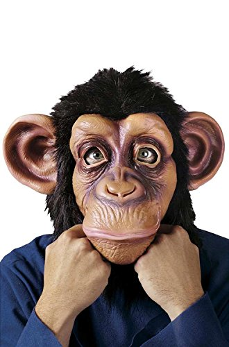 [Chimp Mask / Monkey Mask Full Head Latex Mask Halloween Costume; Standard Size; By Fun World] (Animal Halloween Costumes Men)