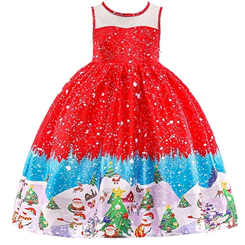 Girls Lace Christmas Dress Evening Party Short Sleeve Print -