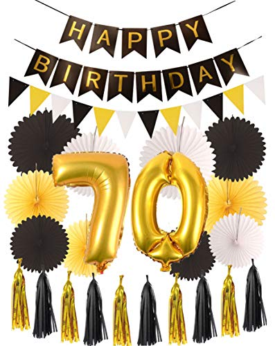 70th Birthday Party Decorations KIT - Happy Birthday Black Banner, 70th Gold Number Balloons, Gold and Black, Number 70, Perfect 70 Years Old Party Supplies -