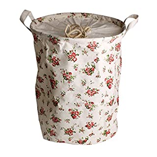 Andux Cotton Fabric Collapsible Laundry Basket Dirty Clothes Hamper-ZYL-01 (Floral)