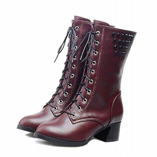 Wine Red Carol Boots Mid Modern Biker Rivet Heel Shoes Women's Mid Calf Western 74Pq7