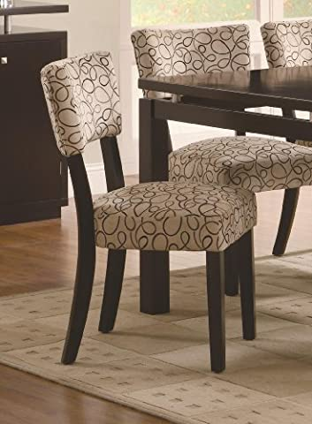 Libby Upholstered Dining Side Chair Set of 2 by Coaster Fine Furniture - Cappuccino Finish Birch Veneer