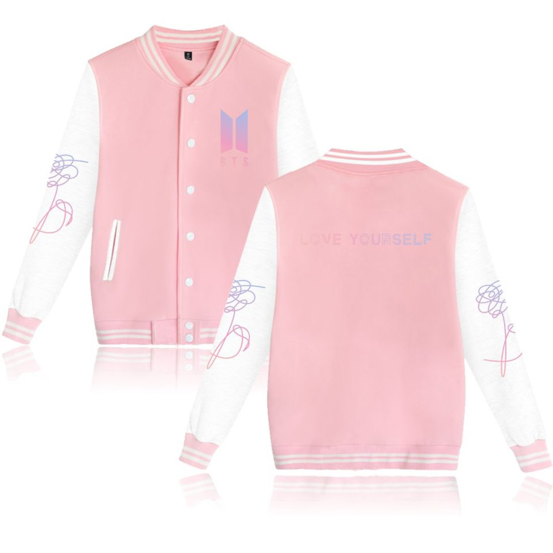 EmilyLe Kpop BTS Baseball Jacket Uniform Fans Cheer Unisex Sweater Coat