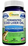 Fermented Cod Liver Oil - 180 Capsules - Fish Oil Blend Supplement...