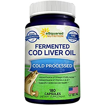 Fermented Cod Liver Oil - 180 Capsules - Fish Oil Blend Supplement Pills - Natural Source of Omega 3 Fatty Acids, Vitamin D & A - Supports Eye, Skin, Joint, ...