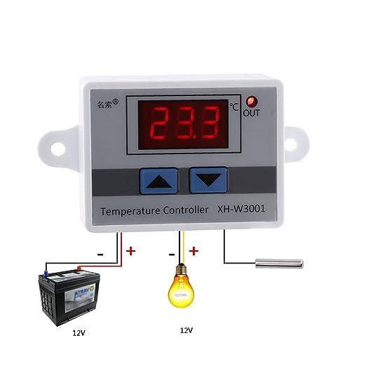 12v//220V Termostato Temperatura Xh-w3001 Digitale Led Sonda LCD con Controllo