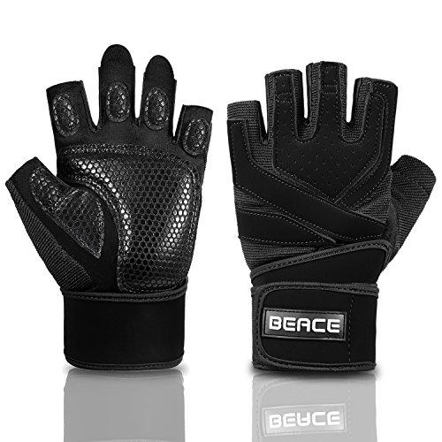 BeaceGlove Mens Workout Gym Gloves with Wrist Wrap Support, Full Padded Palm Protection & Anti-slip Weight Lifting gloves for Exercise Training Fitness and Bodybuilding ()