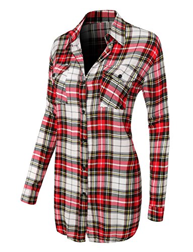 LE3NO Womens Casual Plaid Button Down Shirt with Roll Up Sleeves