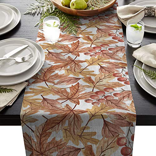 ARTSHOWING Retro Table Runner Party Supplies Fabric Decorations for Wedding Birthday Baby Shower 13x90inch Autumn Maple Leaf Watercolor Pattern -