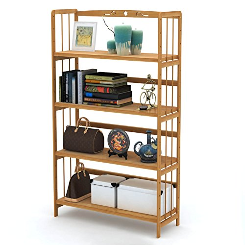 Ufine Wood Bookcase Book Collection 4 Tier Adjustable Book Shelves Multipurpose Display Rack Storage Organizer Shelf Kitchen Bathroom Garage Dormitory Waterproof Christmas Gift for Students (49 Full Storage Bench)