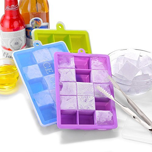 3 Pack Silicone Easy Release Ice Cube Trays with Lids and Ice Tongs Only $7.79