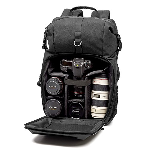 51g9A8QDAoL - Camera Bag, Evecase Shell DSLR Camera/15.6-inch Laptop Double Buckle Water Resistant Backpack Travel Rucksack w/Rain Cover for Nikon Canon Fujifilm Sony Digital SLR, Mirrorless Camera - Black