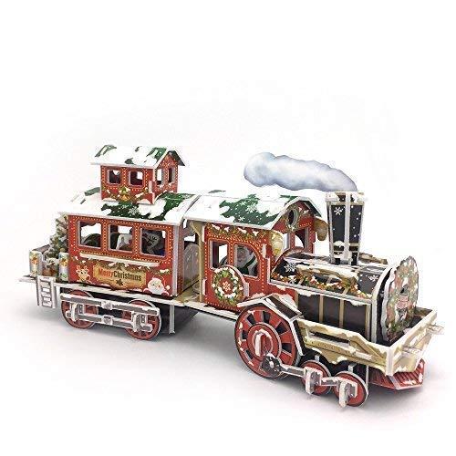 [해외]Nosto 멋진 크리스마스 기차 모델 - LED 조명 포함 - 3D 퍼즐 / Nosto Fabulous Christmas Train Model - with LED Lights - 3D Puzzle