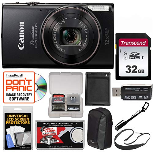 Canon PowerShot Elph 360 HS Wi-Fi Digital Camera (Black) with 32GB Card + Case + Battery + Selfie Stick + Sling Strap + Kit Review