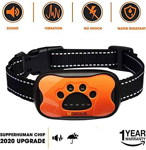 MONTAUR Dog Bark Collar - no Shock Vibration and Sound Stop Barking Collar for Dogs - 7 Level Sensitivities Anti Bark Collar - Humane Dog Barking Control Collar - 100% Waterproof no Bark Collar