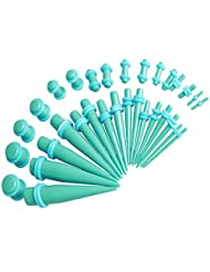 Taper Kit 36 Pieces Turquoise Acrylic Tapers and Plugs Turquoise O-Ring 14G-00G Stretching Kit -18 Pairs